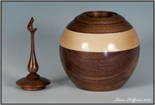 Walnut Wood Pet Urn Cremation  For Sale Woodturned