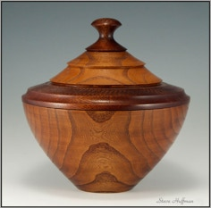 Mulberry with Padauk Lidded Wooden Bowl For Sale